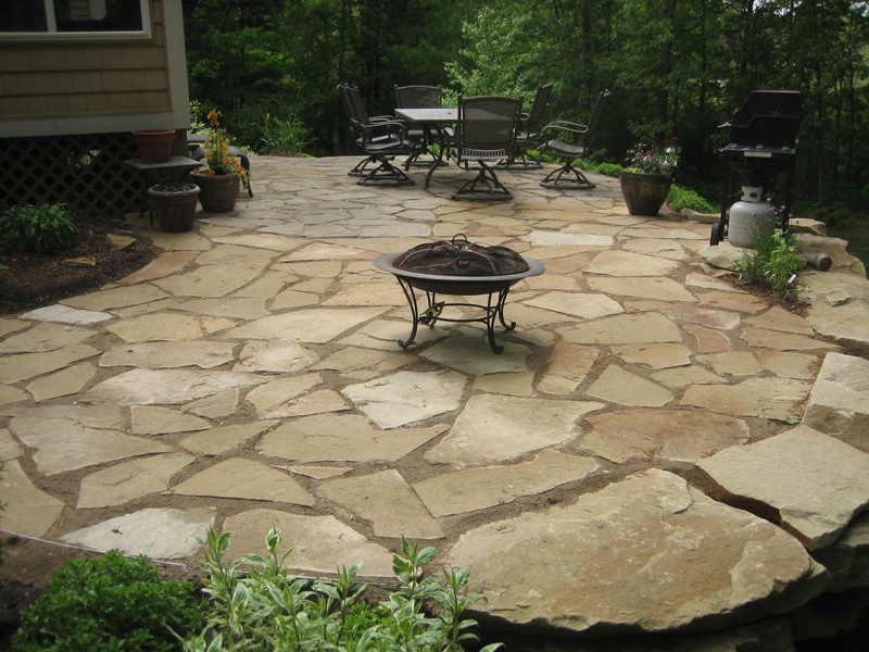 Flagstone patio in the backyard
