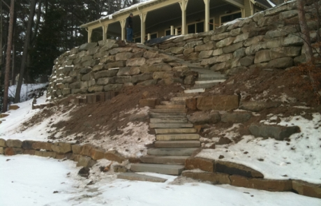 Beautiful natural outcropping stone retaining wall