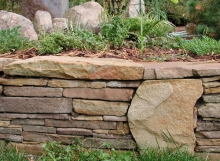 Handstack retaining wall stone