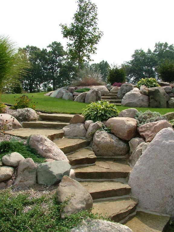 Natural Landscaping Steps : Natural stone steps landscaping treads