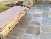 Bluestone patio using full color bluestone pavers at different sawn dimensions by Napoleon Stone