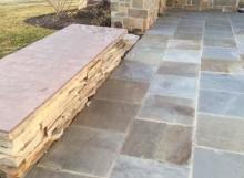 Bluestone patio using full color bluestone pavers at different sawn dimensions by Napoleon Stone